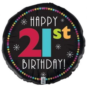 21st Birthday Black Foil Balloon 45cm E2196