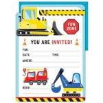 16pk Construction Party Invitations E4966 P