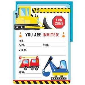 16pk Construction Party Invitations E4966 P