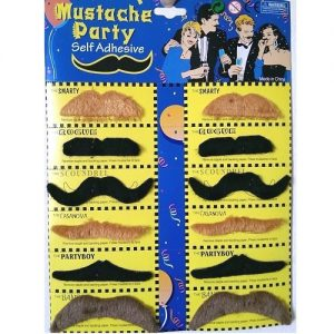 Multi-Colour Fake Moustaches Mustaches Self-Adhesive Set 12pcs