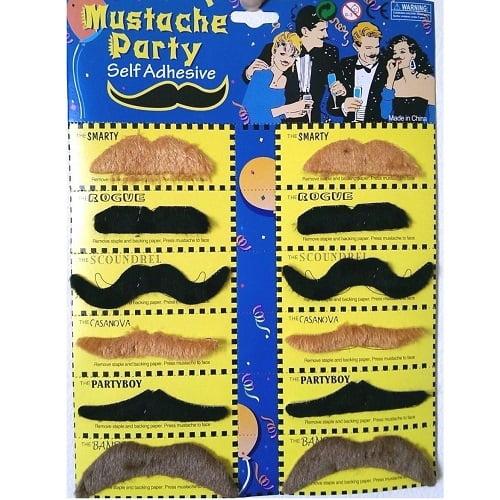 Multi-Colour Fake Moustaches Mustaches Self-Adhesive Set 12pcs