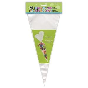 25pk Large Cello Clear Lolly Cone Cellophane Party Bags 61997