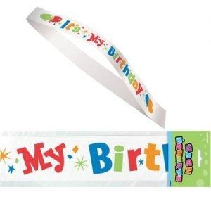 It's My Birthday White Satin Sash 69026