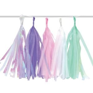 Unicorn Mermaid Iridescent Tassel Garland Hanging Decorations E4948