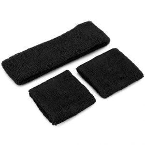 Black 80'S Cotton Wristbands Headband Sweatbands Set 14900-01