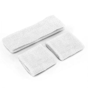 White 80'S Cotton Wristbands Headband Sweatbands Set 14900-02