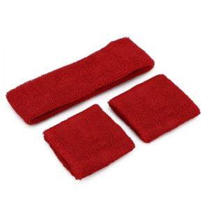 Red 80'S Cotton Wristbands Headband Sweatbands Set 14900-03
