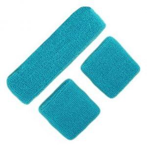 Light Blue 80'S Cotton Wristbands Headband Sweatbands Set 14900-06
