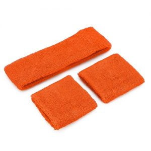 Orange 80'S Cotton Wristbands Headband Sweatbands Set 14900-09