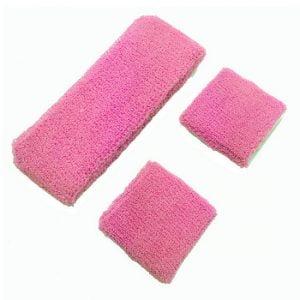 Fluro Hot Pink 80'S Cotton Wristbands Headband Sweatbands Set 14900-12