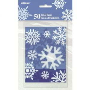 50pk Small Frozen Snowflake Plastic Party Bags 46809