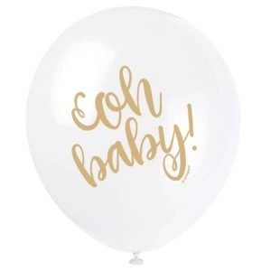 Latex Balloons 30CM 8pk Gold Stamped Oh Baby! Baby Shower 54920