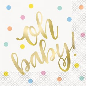 16pk Gold Foil Stamped Napkins Serviettes Oh Baby! Baby Shower 73402