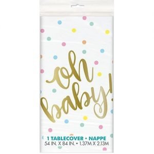 Gold Stamped Table Cover Tablecloth Oh Baby! Baby Shower 73403