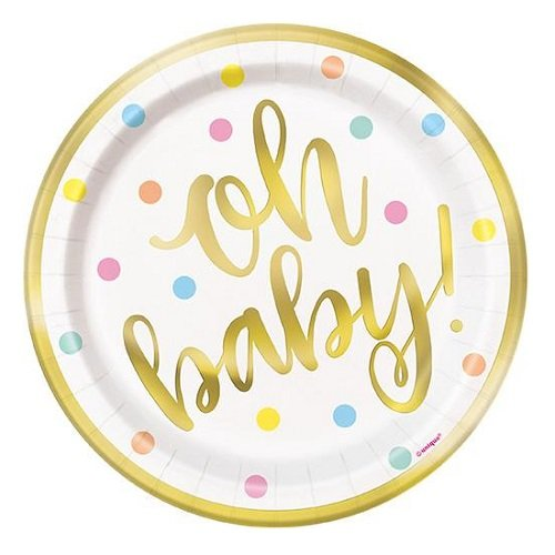 8pk Gold Foil Stamped Small Paper Plates Oh Baby! Baby Shower 73404