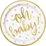 8pk Gold Foil Stamped Large Paper Plates Oh Baby! Baby Shower 73405