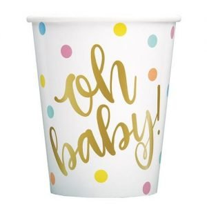 8pk Gold Foil Stamped Paper Cups Oh Baby! Baby Shower 73406