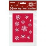 50pk Christmas Small Snowflake Red Plastic Party Bags 44512