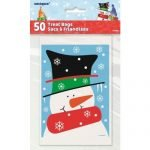 50pk Christmas Small Snowman Buddy Plastic Party Bags 47630