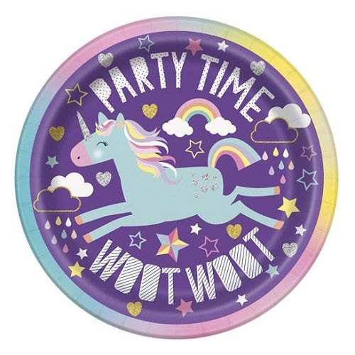 8pk Unicorn Small Paper Plates 18cm Party Tableware 72494