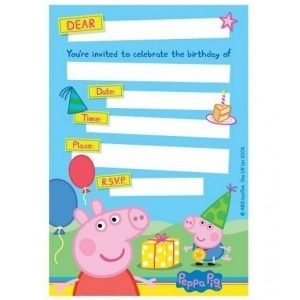Peppa Pig Party Invitations 8pk 010683