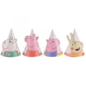 Mini Party Hats 8CM 8pk Peppa Pig Paper Cone Hats 251078