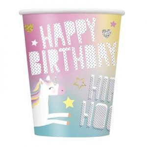Unicorn Paper Cups 8pk Party Tableware 72496