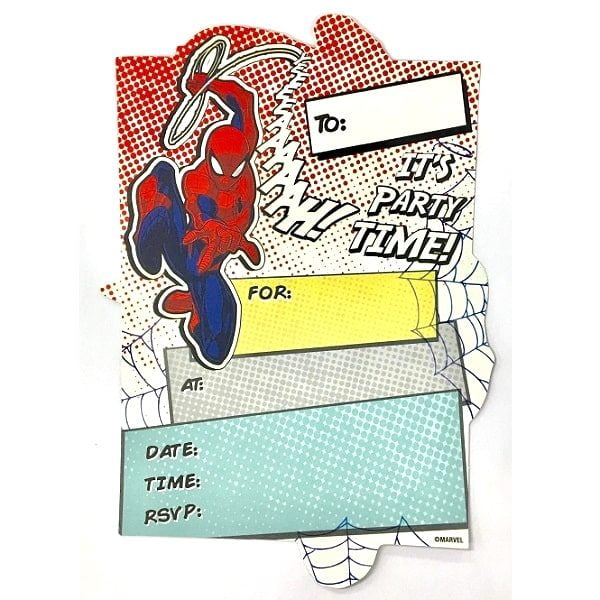 Spider-Man Party Invitations 8pk With Envelopes Spiderman E5895
