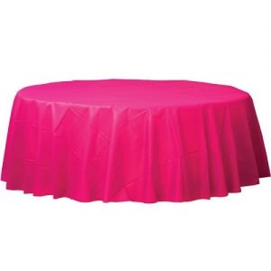 Magenta Round Plastic Table Cover Tablecloth 213cm 77018