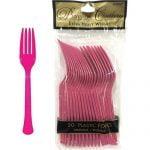 20pk Magenta Plastic Forks Party Tableware 8000
