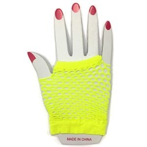 Yellow Short Fishnet Finger-less Gloves 1980'S Party Accessories