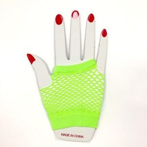 Lime Green Short Fishnet Finger-less Gloves 1980'S Party Accessories
