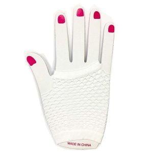 White Short Fishnet Finger-less Gloves 1980'S Party Accessories