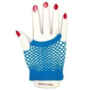Light Blue Short Fishnet Finger-less Gloves 1980'S Party Accessories