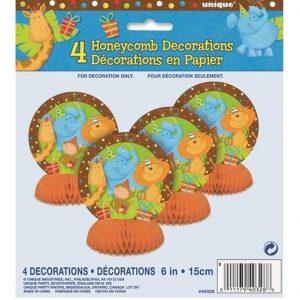 4 Mini Honeycomb Table Centrepieces Animal Jungle Safari 40328