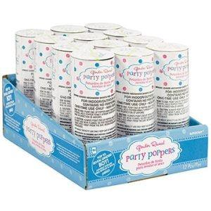Blue Confetti Poppers 12pk Gender Reveal 396795