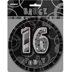 Jumbo 16th Birthday Badge 15CM Glitz Black 55281