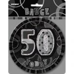 Jumbo 50th Birthday Badge 15CM Glitz Black 55286