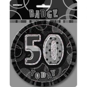 Jumbo 50th Birthday Badge 15CM Glitz Black 55286