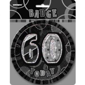 Jumbo 60th Birthday Badge 15CM Glitz Black 55287