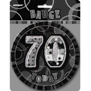 Jumbo 70th Birthday Badge 15CM Glitz Black 55289