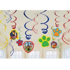 Hanging Swirl Decorations Pack 12pk PAW Patrol 671462