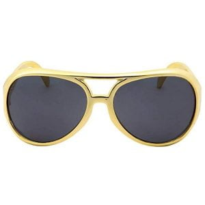 50'S Elvis Presley Glasses Rock & Roll Gold Frame 20640
