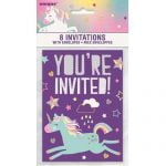 Party Invitations 8pk With Envelopes Unicorn 72504