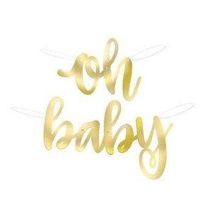 Foil Script Banner 85CM Gold Stamped Oh Baby! Baby Shower 73408
