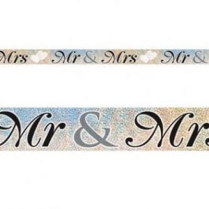Foil Banner 3.6M Mr & Mrs Prismatic Wedding Engagement 10871