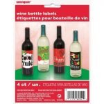 Wine Bottle Labels 4pk Christmas Decorations 62552