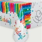 Table Cover Rainbow Ribbons Plastic Tablecloth 49563