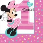 Beverage Napkins 16pk Disney Minnie Mouse Fun To Be One 1st Birthday Serviettes 501834