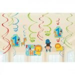 Jungle One Wild Boy 1st Birthday Party Hanging Swirl Decorations Pack 670385